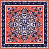 Indian paisley pattern vector. Oriental medallion mandala print. Floral silk scarf fabric. Vintage ethnic ornament. Damask flower design for women bandana textile, boho rug, gypsy pillow.