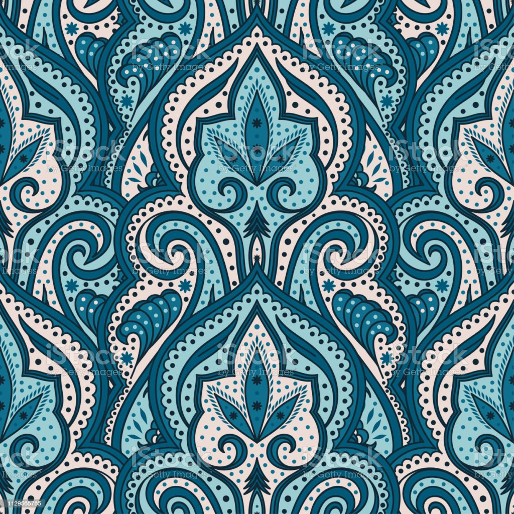 Indian Paisley Pattern Vector Seamless Floral Damask