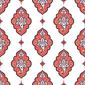 Indian paisley pattern vector seamless. Flower arabesque damask ornament motif. Batik Indonesia ethnic print. Oriental design for wallpaper, upholstery fabric, curtain textile, boho blanket.