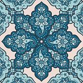 Indian paisley pattern vector seamless. Mandala medallion floral motif print. Ethnic oriental ornament. Bohemian design for woman clothing, curtain textile, wallpaper, carpet, blanket, bandana.