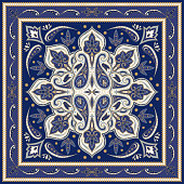 Indian paisley pattern vector. Silk scarf medallion fabric print. Floral mandala and vintage flower ethnic ornament. Persian design for woman shawls, batik, rug, pillow, bandana, carpet texture.