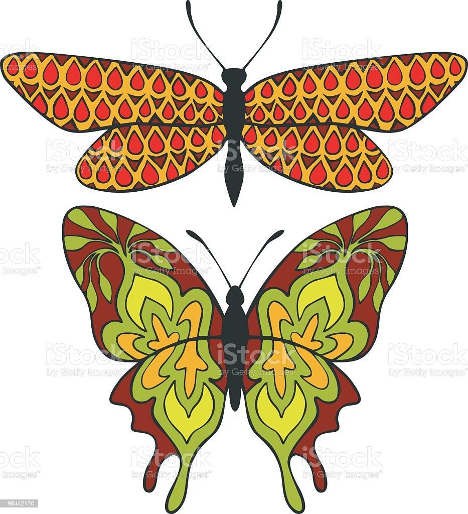 Indian padrão de borboletas - Vetor de Antena - Parte do corpo animal royalty-free