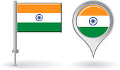 Indian pin icon and map pointer flag. Vector