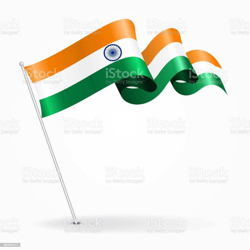 Indian pin wavy flag. Vector illustration. vector art illustration