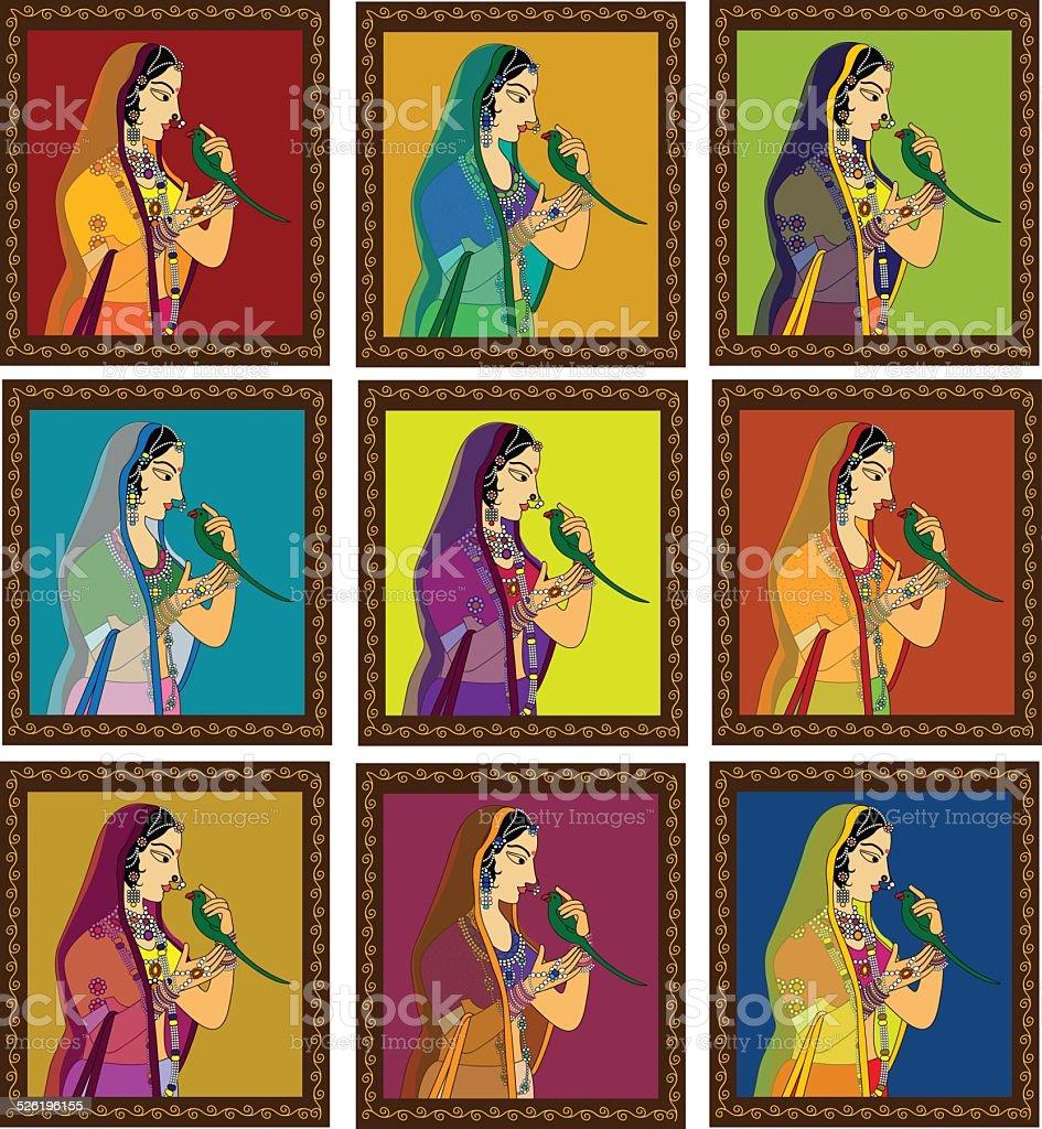 Indian Princess/ Queen potrait vector art illustration