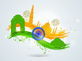 Famous Indian monuments with paint stroke in national flag colors and Ashoka Wheel for Indian Republic Day and Independence Day celebrations.