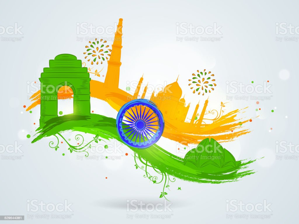 Indian Republic Day and Independence Day celebrations. vector art illustration