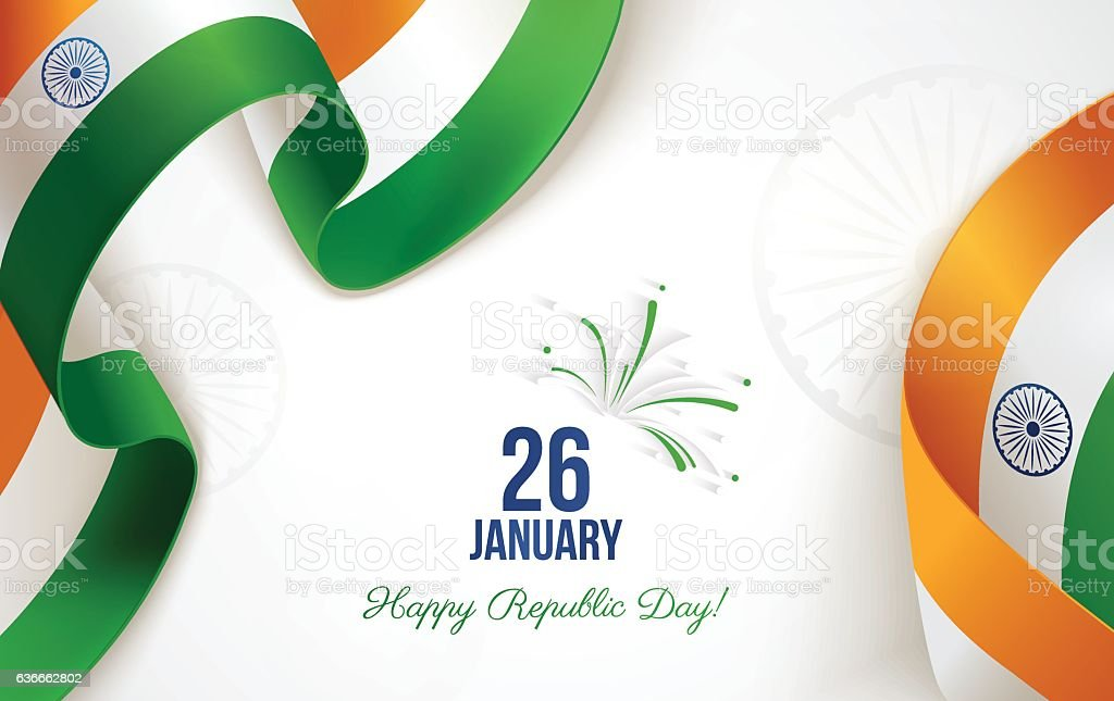 Indian Republic Day background in national flag colors. 26 january. vector art illustration