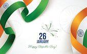 Indian Republic Day background in national flag colors. 26 january.
