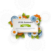 Indian Republic day banner. 3d wheels with flowers in traditional tricolor of indian flag. Paper cut style. White background. Vector illustration.