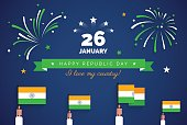 Indian Republic Day greeting card. 26 january.