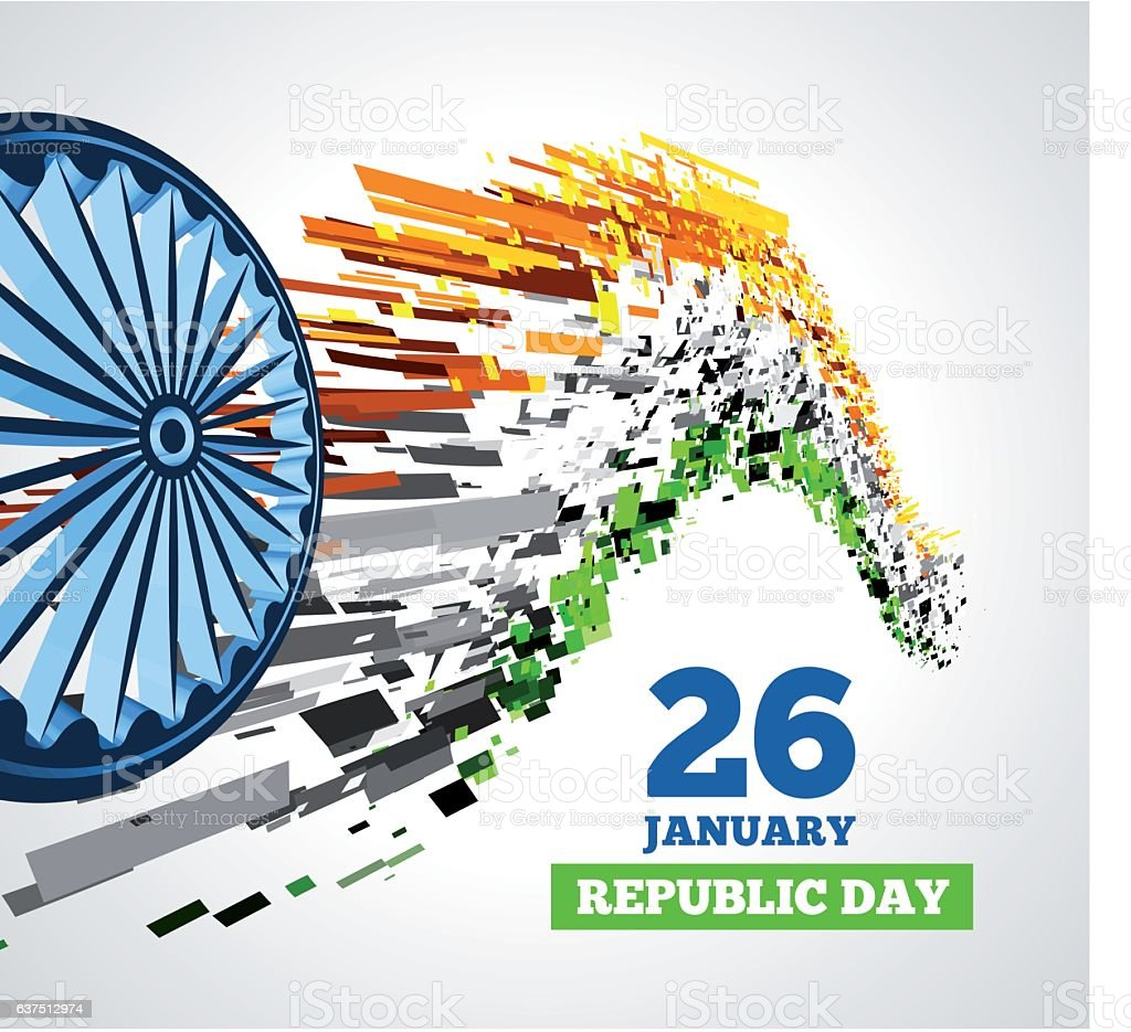 Indian Republic Day vector background with flag vector art illustration