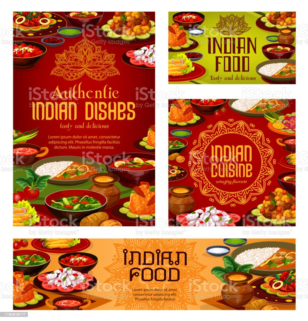 Indian Restaurant Authentic Food Dishes Menu Stock Illustration Download Image Now Istock