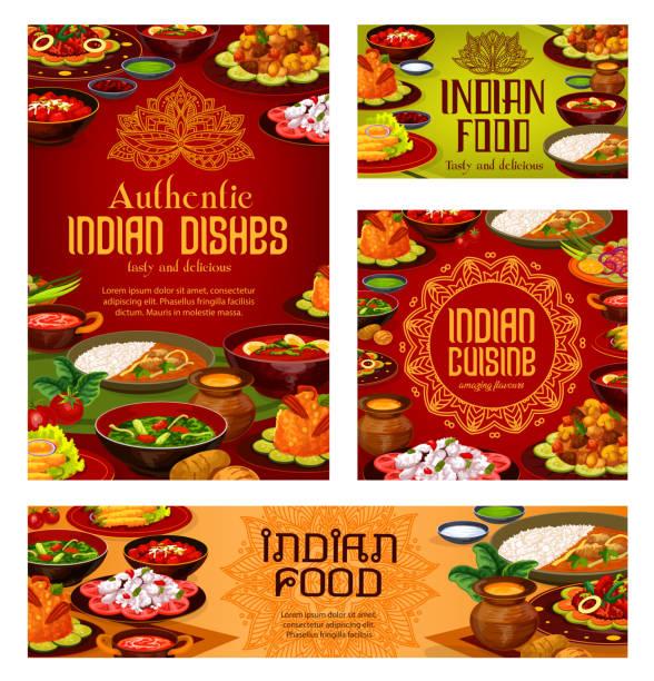 インド料理レストラン、本格的な料理メニュー - カレー点のイラスト素材/クリップアート素材/マンガ素材/アイコン素材