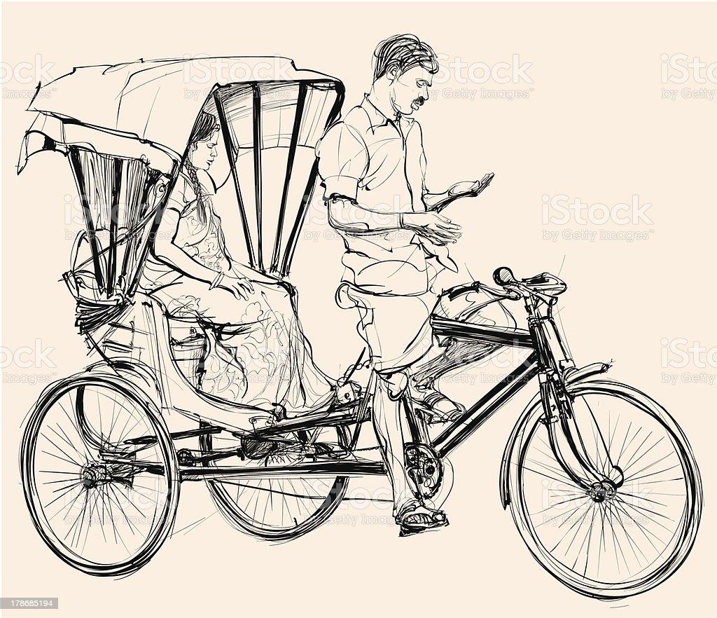 indian rickshaw vector art illustration