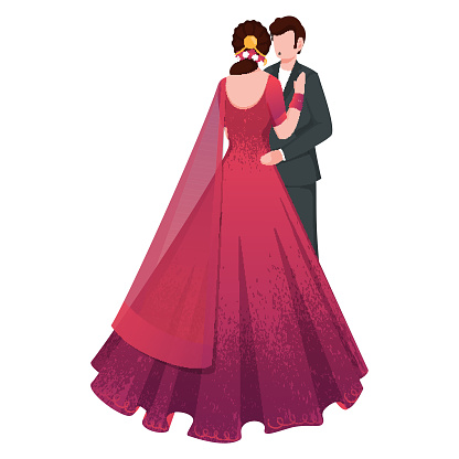 Indian Romantic Couple Character in Standing Pose.