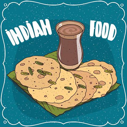 Indian round flatbread and masala chai tea