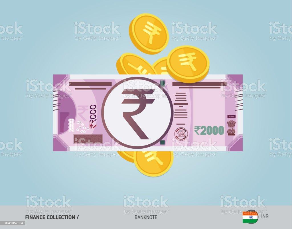 2000 Indische Rupie Banknote Mit Fliegenden Münzen Flachen
