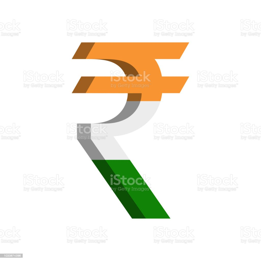 Indian Rupee Currency Symbol With Flag Vector Stock Vector Art