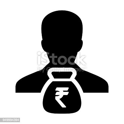 Indian Rupee Symbol Icon Vector Person Male Sign Avatar With Money