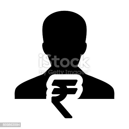 Indian Rupee Symbol Sign Icon Vector With Male Person Avatar In