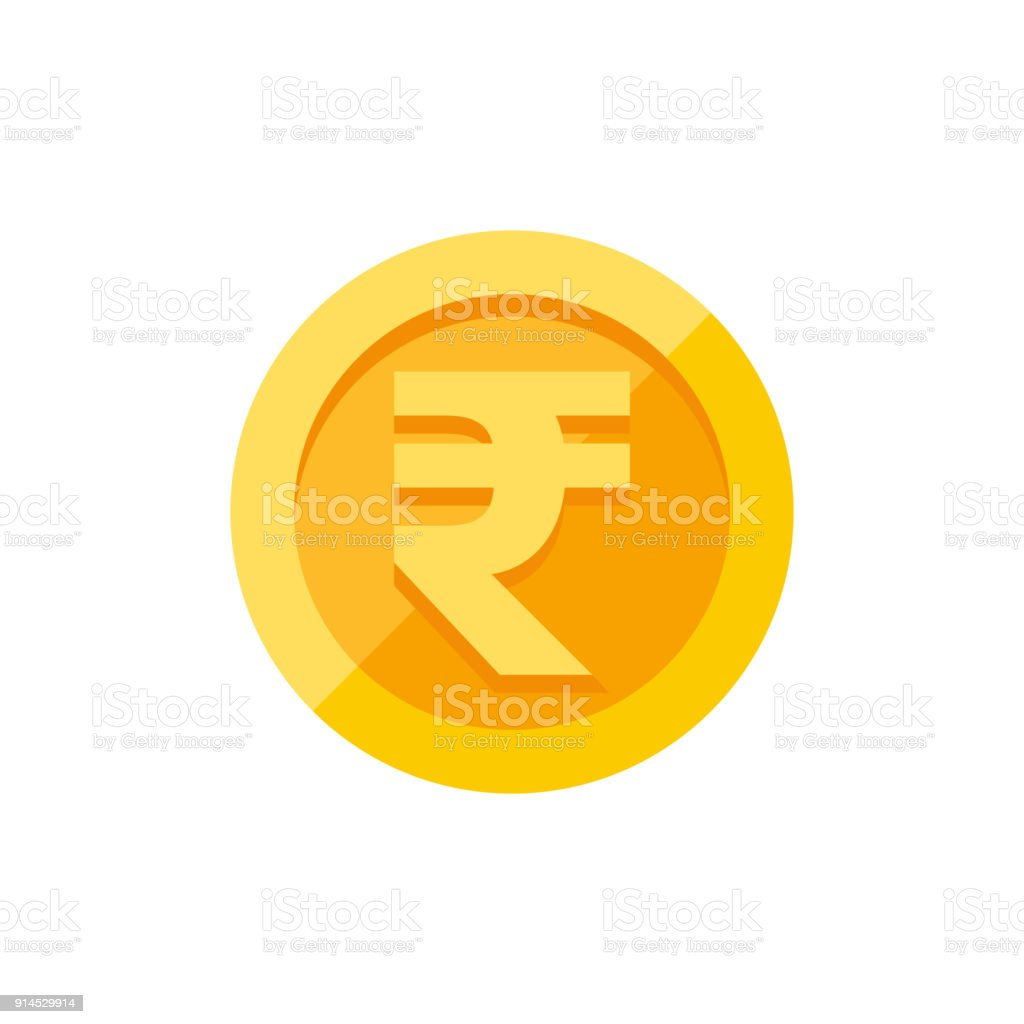 Indian Rupees Symbol On Gold Coin Flat Style Stock Vector Art More