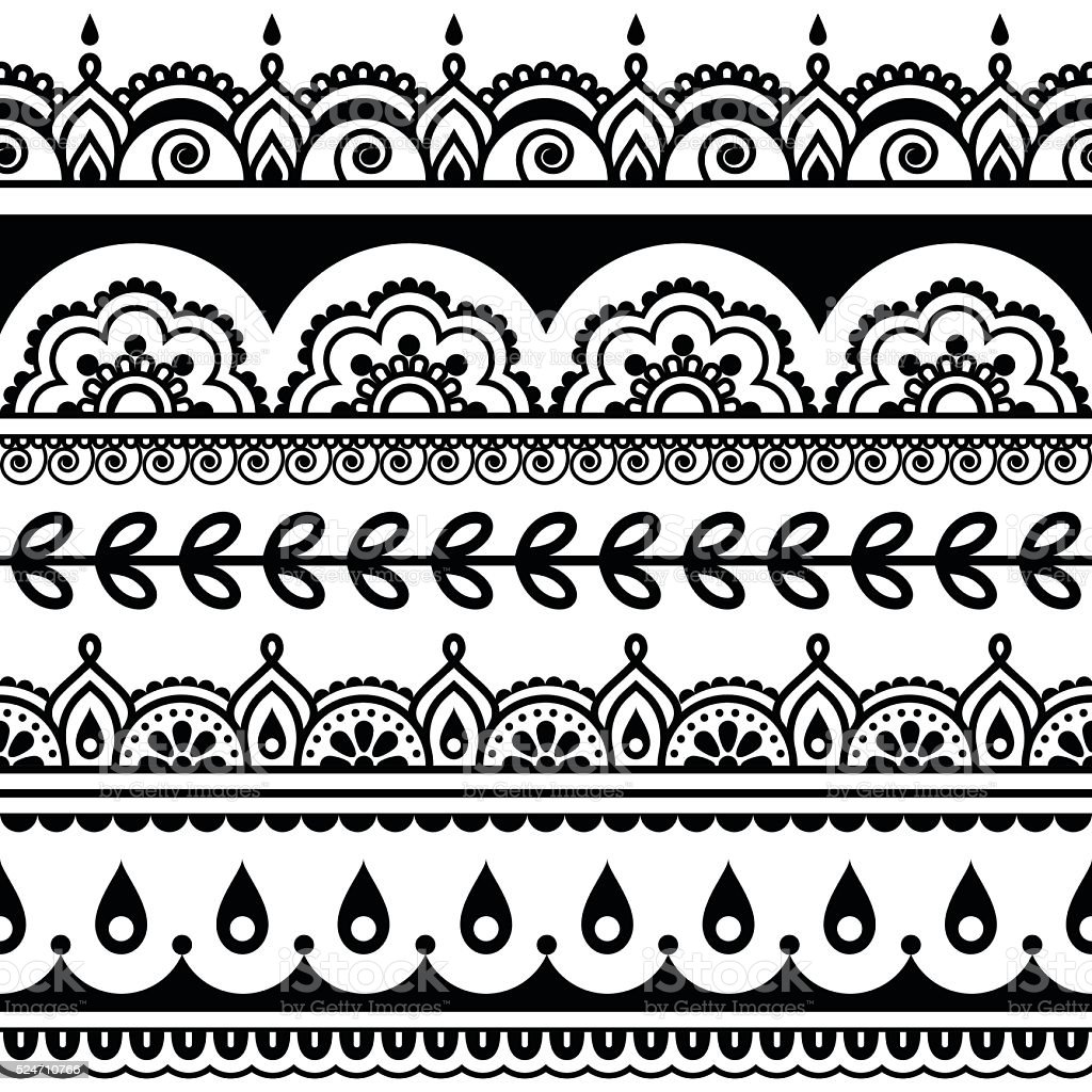 indian seamless pattern design elements mehndi tattoo