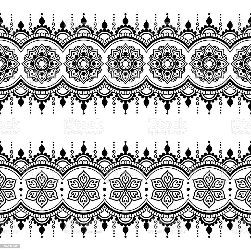 Indian seamless pattern, design elements - Mehndi tattoo style vector art illustration