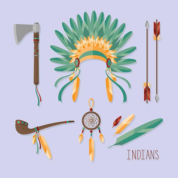 indian set - kopfschmuck stock-grafiken, -clipart, -cartoons und -symbole