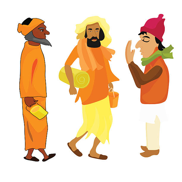 indian set yogi man in the orange garb vector illustration - varanasi stock-grafiken, -clipart, -cartoons und -symbole
