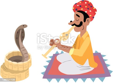 illustration of a Indian snake charmer