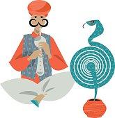 Indian snake charmer. Vector illustration.