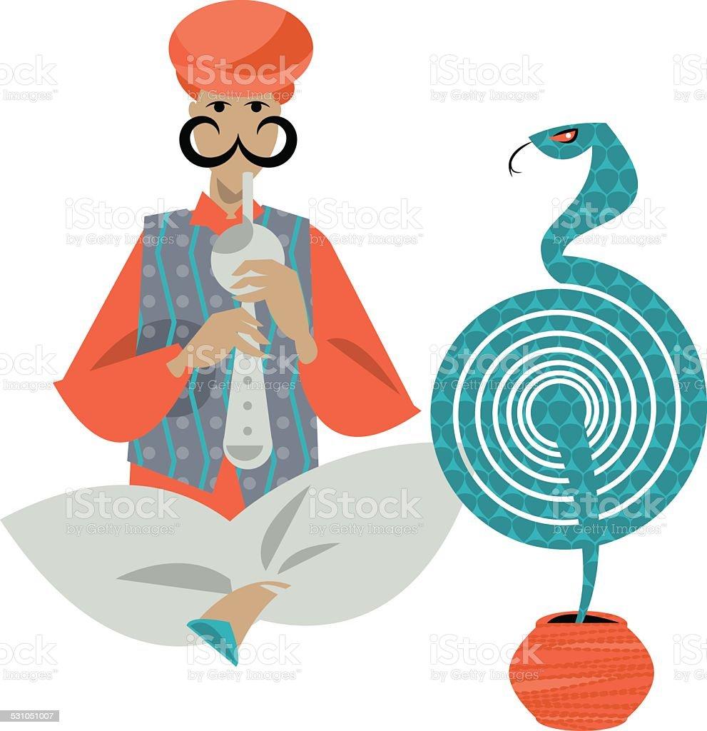 Indian snake charmer. Vector illustration. vector art illustration