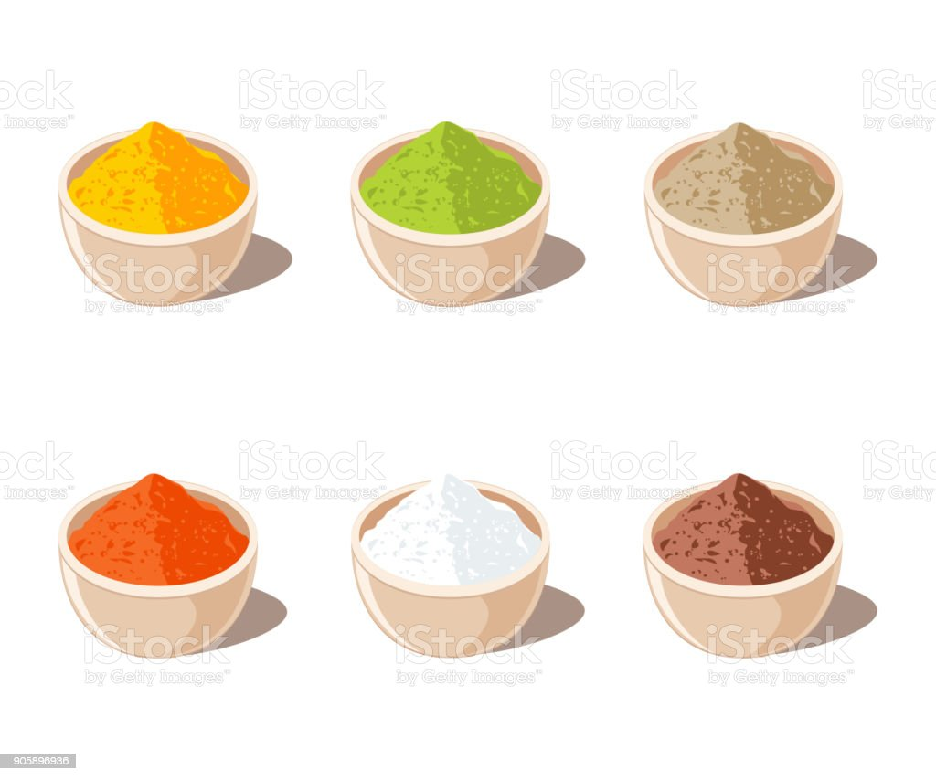 Indian Spices Powder in Bowl vector art illustration
