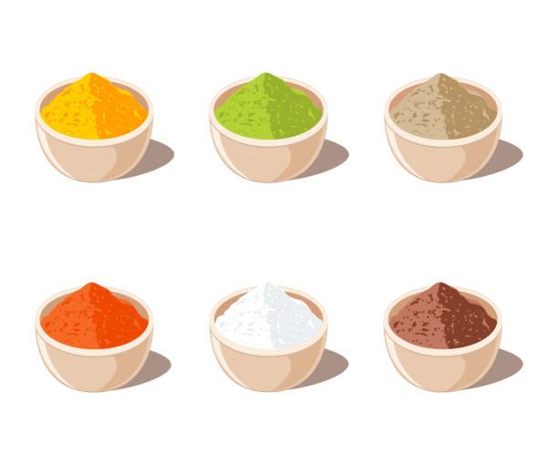 indische gewürze-pulver in schüssel - mehl stock-grafiken, -clipart, -cartoons und -symbole