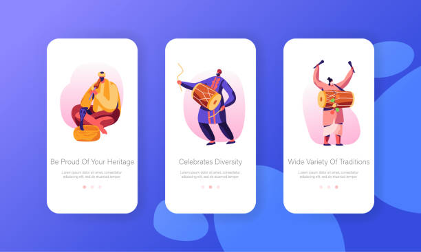 Indian Street Artists Play Music on Traditional Instruments, Yogi Playing on Pipe for Cobra Snake Mobile App Page Onboard Screen Set Concept for Website or Web Page, Cartoon Flat Vector Illustration Indian Street Artists Play Music on Traditional Instruments, Yogi Playing on Pipe for Cobra Snake Mobile App Page Onboard Screen Set Concept for Website or Web Page, Cartoon Flat Vector Illustration tavla stock illustrations