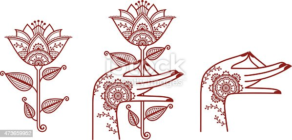 Indian style illustrations of a hand and flower.