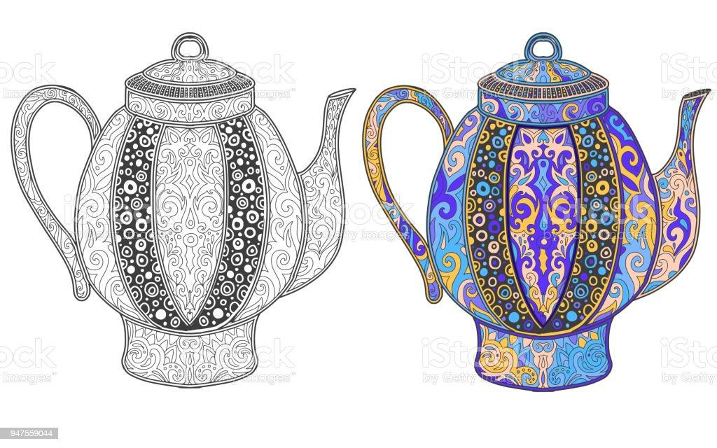 Hint çaydanlık şark Süsleme Ile Stok Vektör Sanatı Boyanin Daha