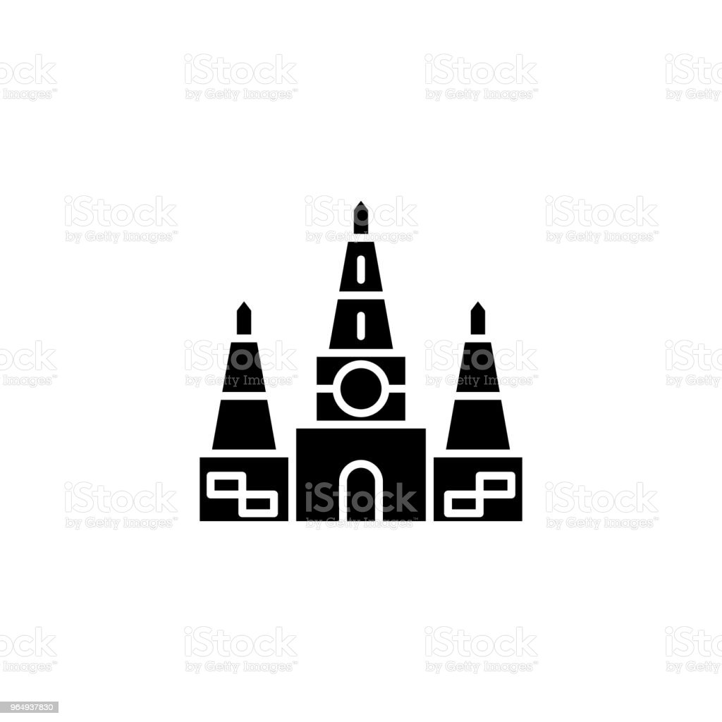 Indian Temple Black Icon Concept Indian Temple Flat Vector Symbol