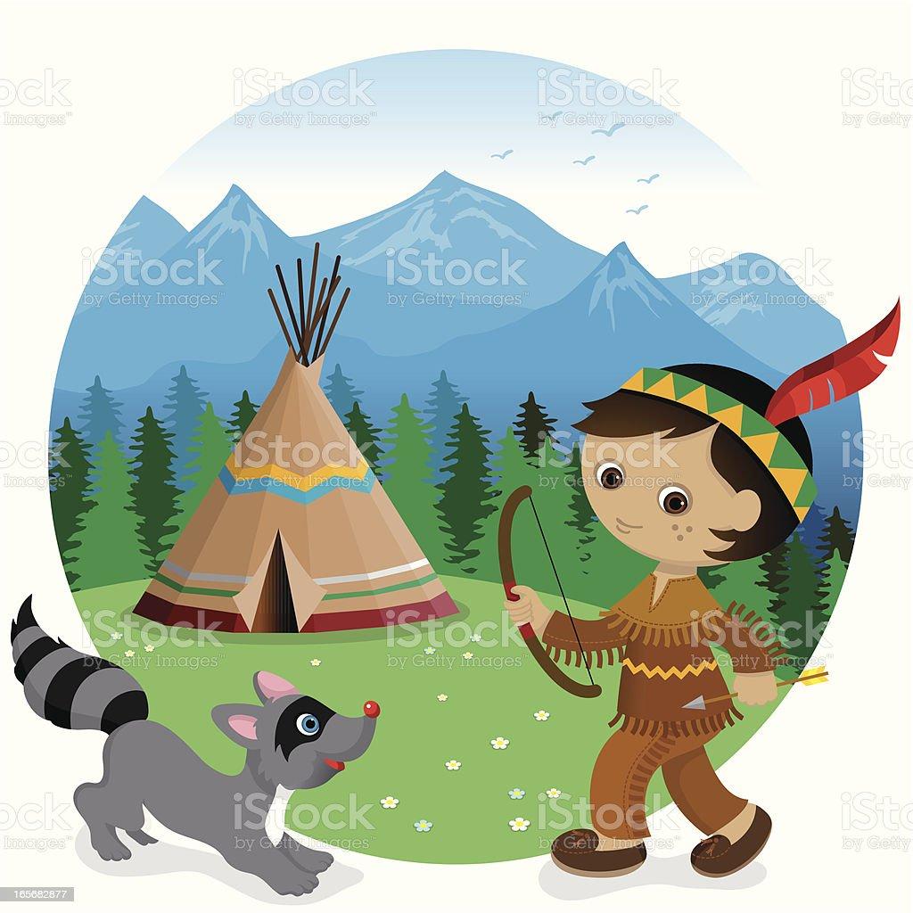 Indian tipi boy and raccoon vector art illustration