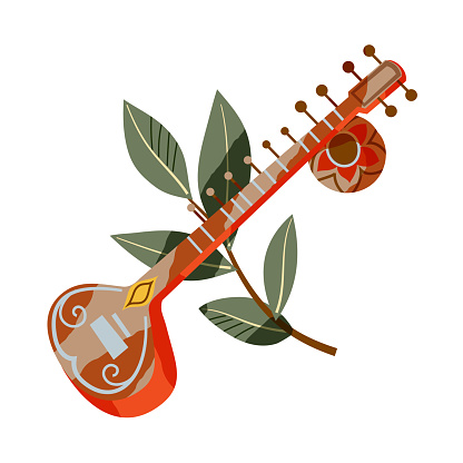 Indian traditional music instrument sitar. Musical tool and green branch with leaves composition vector illustration. Tourism in India symbols isolated on white background