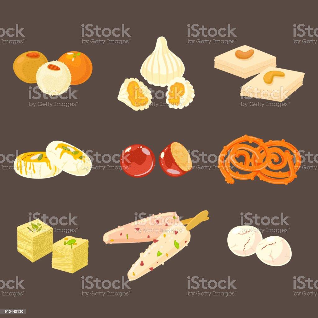 Jeu de desserts traditionnels indiens. Icônes de desserts Indiens isolement sur fond sombre. - Illustration vectorielle