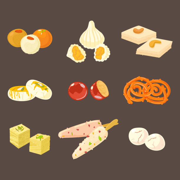indian traditional sweets set. indian sweets icons isolated on dark background. - indian food stock illustrations, clip art, cartoons, & icons