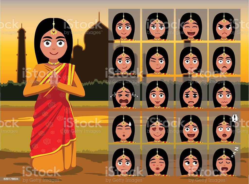 Indian Traditional Woman Cartoon Emotion faces Vector Illustration vector art illustration