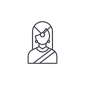 Indian traditional woman linear icon concept. Indian traditional woman line vector sign, symbol, illustration.