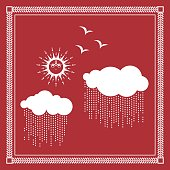 Warli Painting of sun and clouds in rainy season ...