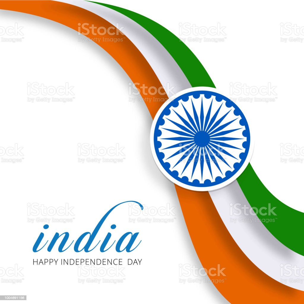 Indian Tricolor Flag With Wheel On White Background Showing Peace