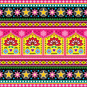 Colorful repetitive Diwali background inspired by traditional lorry and rickshaw painted decorations with flowers and swirls. Popular decor in Pakistan and India