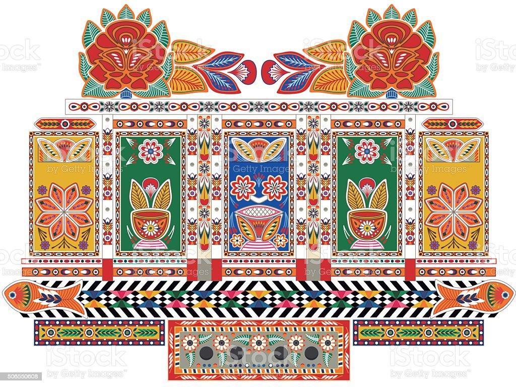 Indian Truck vector art illustration
