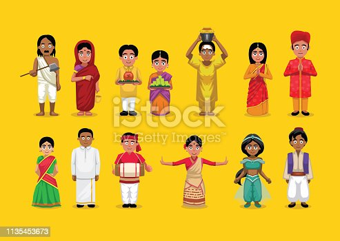 istock Indian Various People Costume Cute Character Illustration Set 1135453673